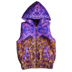 asthetiques:  JOSH GOOT - PURPLE SNAKE HOODED BOMBER VEST.
