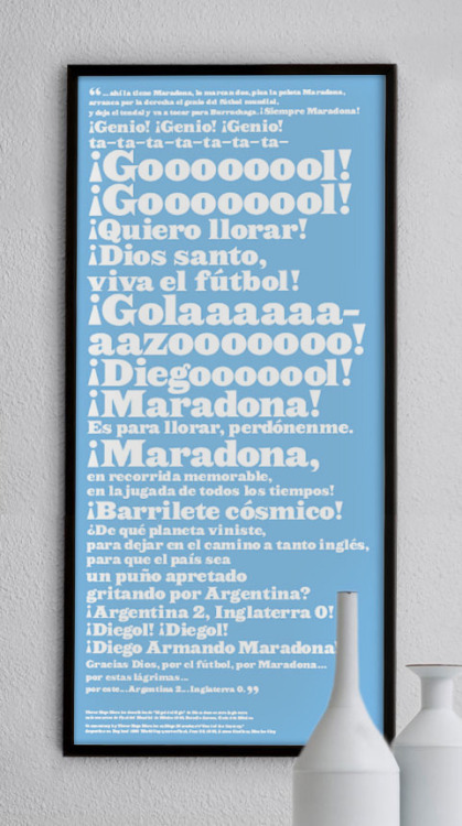 ntmgfootball:  This is a print commemorating Victor Hugo Morales' commentary as Maradona dribbled through the entire England squad to score one of the sickest goals in history during the 1986 World Cup in Mexico.  Buy it here.   And here is the commentary