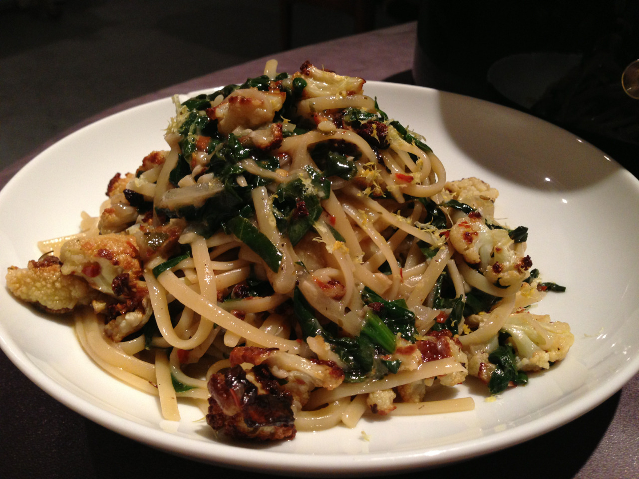 Roasted Cauliflower, spinach, shallot, white wine, lemon, linguini