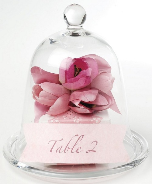 www.weddbook.com everything about wedding ♥ Glass Cloche Table Number with Pink Flower by Georgica Pond - Mel H http://weddbook.com/media/1910646