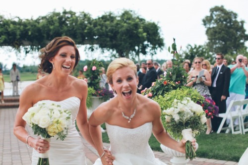 kanibalkangaroo:  liquorinthefront:  How absolutely STUNNING are these brides? Photographs by Meredith Hudson Photography.  This makes me so excited to get married