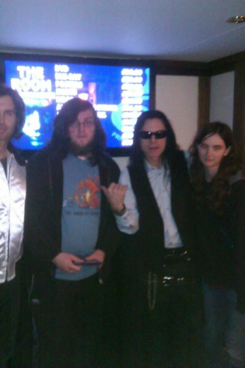Things I have learnt after meeting Tommy Wiseau and Greg Sestero: - The doggie's real name is Fred and was paid for his role- There will be a sequel to the room eventually- Tommy does the 'ah ha ha' thing in real life- Greg likes PCP- Tommy would rather have Denny on a desert island than Mark, Greg was happy about this (I will let you guess which one of those people is me)