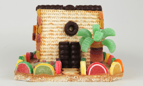 A Matzoh House made with matzoh, Tam Tams, and lots of candy. Directions for making your own are here.