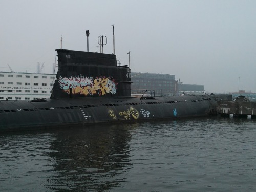 Here's a submarine that we saw docked in Amsterdam.