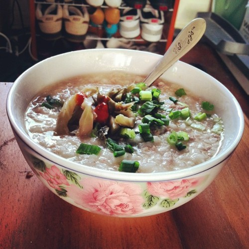 First attempt at congee. Now a new family staple. Yay! #congee #homecooking #foodporn #chinesefood #foodporn