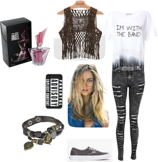 Partyy by iffa-arisya featuring acid wash jeansDip dye t shirt, $25 / Fringe vest / Acid wash jeans, $38 / Vans grey shoes / Leather pendant, $34 / Iphone case / Perfume fragrance / Bumble and Bumble hair shampoo