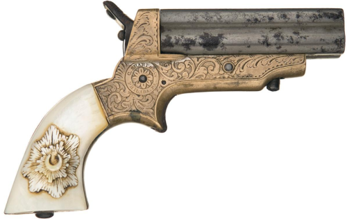 Pearl handle, factory engraved sharps four barrel derringer. Sold At Auction: $4,250