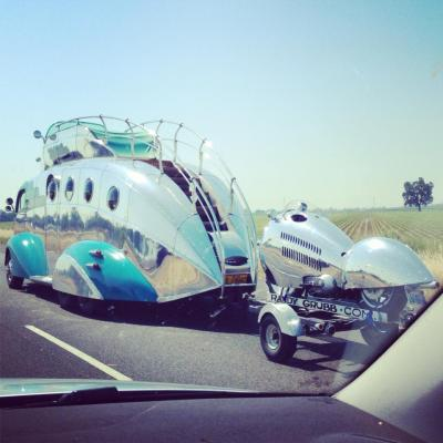"""Sometimes you get to see cool things while on a road trip."" (From imgur) Awesome spotting of Randy Grubb Decoliner mobiles on the road. Randy is a hot rod builder and enthusiast from California. (randygrubb.com)"