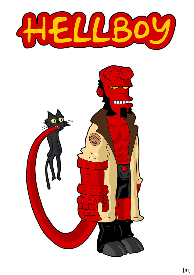 The Hellboy and The Simpsons by p3t3b3 Artist blog / tumblr / deviantart