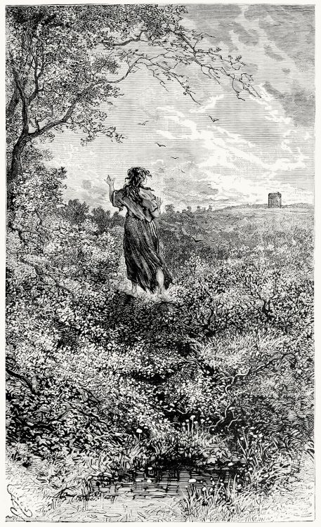 oldbookillustrations:  She walked towards the tower.  Édouard Riou, from Ninety-three vol. 2, by Victor Hugo, London, New York, 1889.  (Source: archive.org)