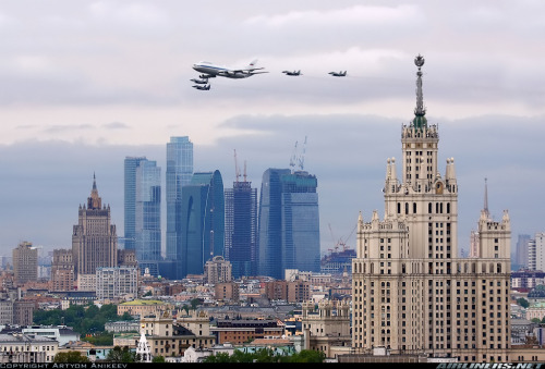 """Ilyushin Il-87 Aimak aircraft in parade rehearsal over Moscow. You can see two old Stalin's skyscrapers that were built in 1950's and between them new business center ""'Moscow city'."" - Artyom Anikeev, Airliners.net via y10k"