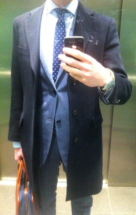 WAYW: dirty elevator mirrors.  Caruso suit, Gherardi shirt, Suit supply overcoat&tie