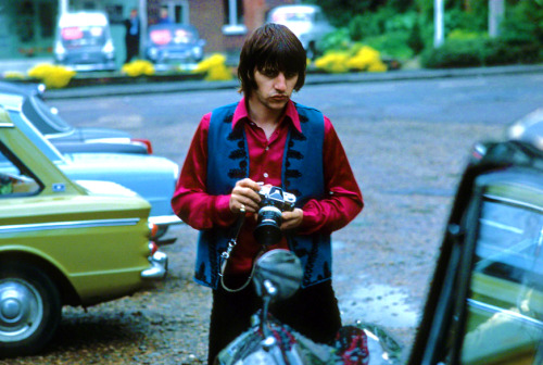 May 1968: Ringo Starr in Church Square, Shepperton. Ph: Henry Grossman (?)