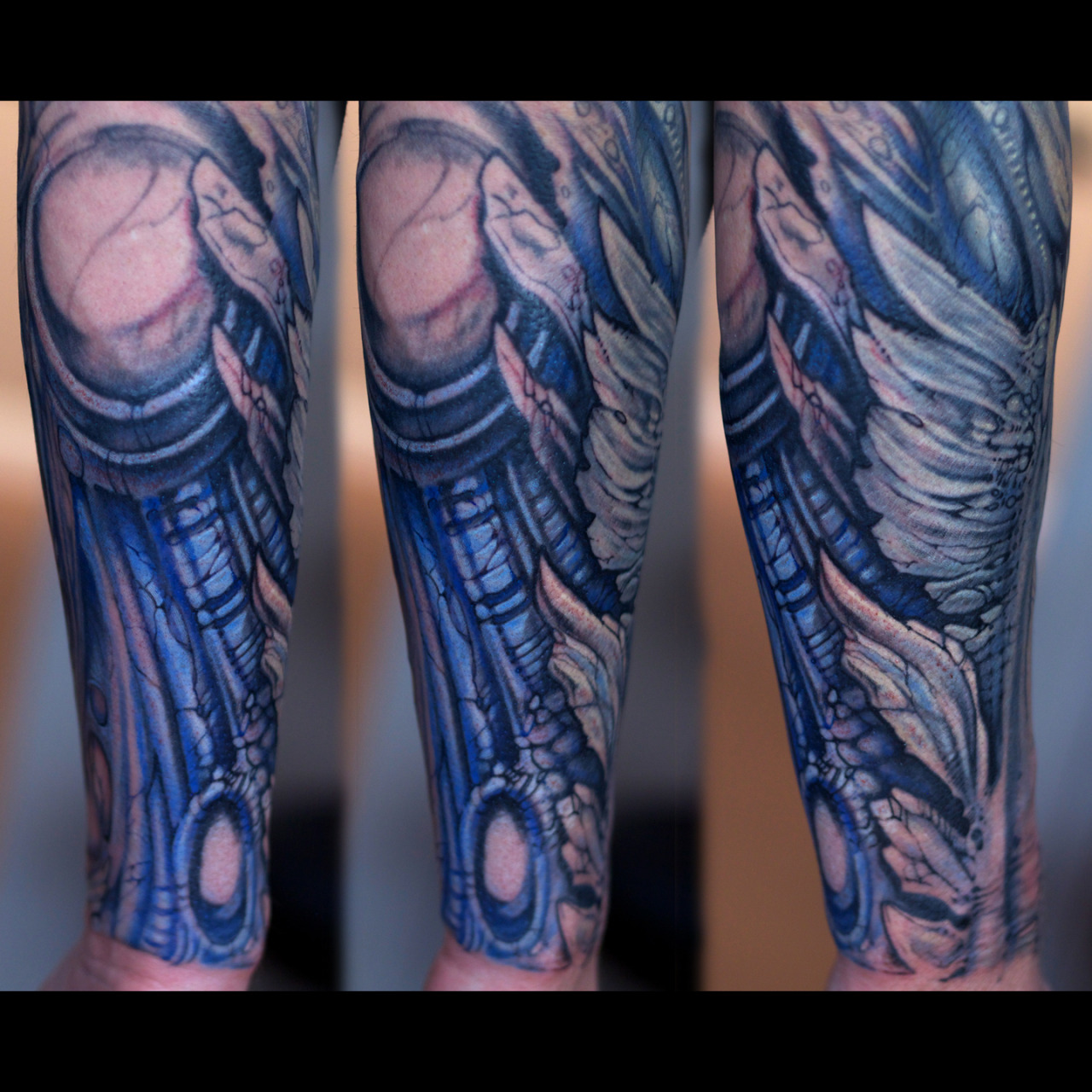More progress on Nate's biomech sleeve from last week..   Artist: Paco Dietz    Studio: Graven Image Tattoo, Santa Clara CA