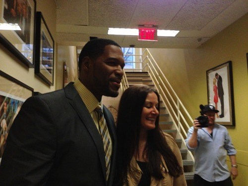 What? Doesn't everyone get to hang out backstage with Michael Strahan?