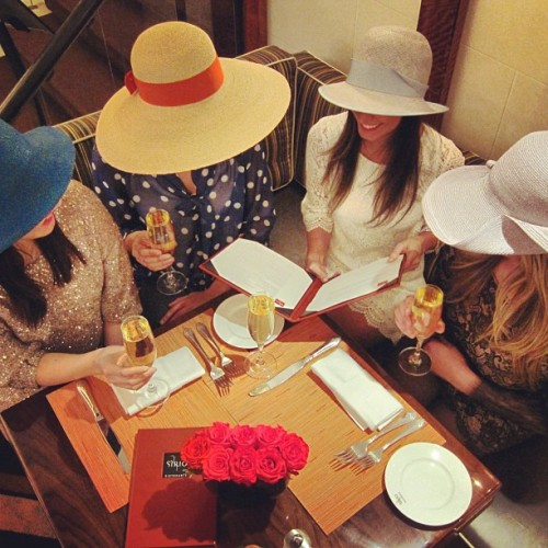 Ladies decked out in their Easter brunch bonnets at Sirio Ristorante in New York City.