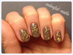 Models Own 'Pray' with 'The Man with the Golden Gun' gold flecks top coat.  I love this gold flecked top coat - I was able to snag a bottle of it on sale at Beauty Brands (for $12 down from $20) and when I searched online to buy another bottle for a friend they were going for about $50. Needless to say I am stoked with this find!