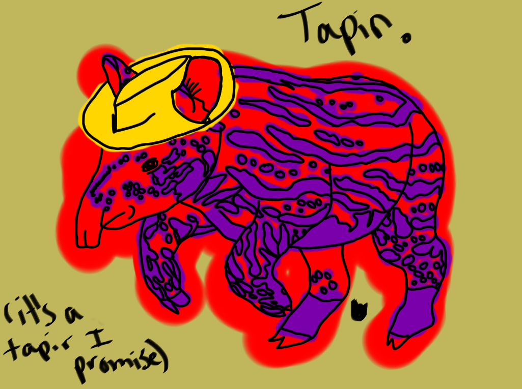 So yeah… For Tuesday I made a tapir. And I gave it a lemon-ish hat. Fun. I think this 'drawing a day' is a good idea. I may continue with it.  Wednesday? Anything?