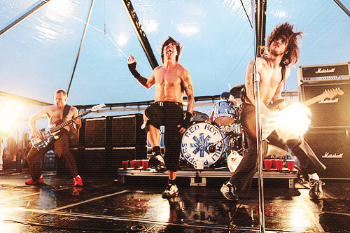 "Red Hot Chili Peppers perform on Ellis Island in New York City on the day their new album ""By The Way"" was released on July 9, 2002."