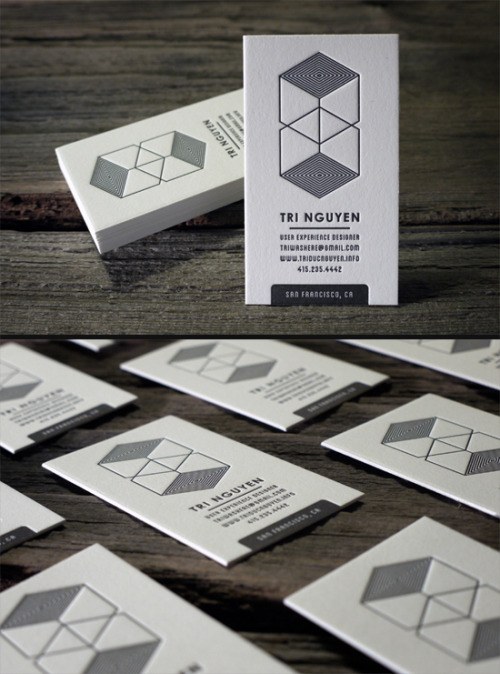 1-color letterpress business cards printed on 236lb cotton paper | Print&Grain ————————get your work featured by submitting it to designersof.com