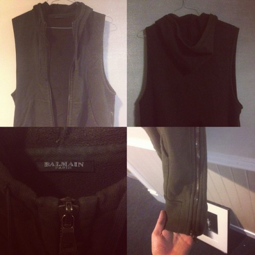 Balmain sleeveless dark khaki brown hoodie for sale. Size large. $300 or best offer #balmain #fashion #luxury #forsale