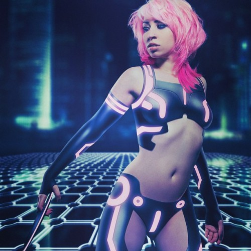 vividvivka:  #throwbackthursday #tbt … That time I was #tron …. #photoshop #scifi #cyber #pinkhair #cosplay #costume #model