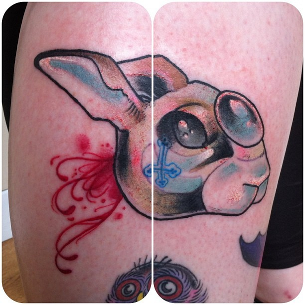 epicterror:  So much fun! #rabbit #rabbittattoo #hare #haretattoo #apprentice #apprenticetattoos #tattoo #tattoos #apprenticetattooer #tattooapprentice #neotraditional #neotraditionaltattoo #rabbithead