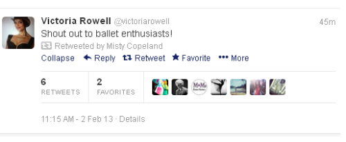Yeah…so it's super cute when Victoria Rowell tweets about ballet and then Misty Copeland retweets it. <3