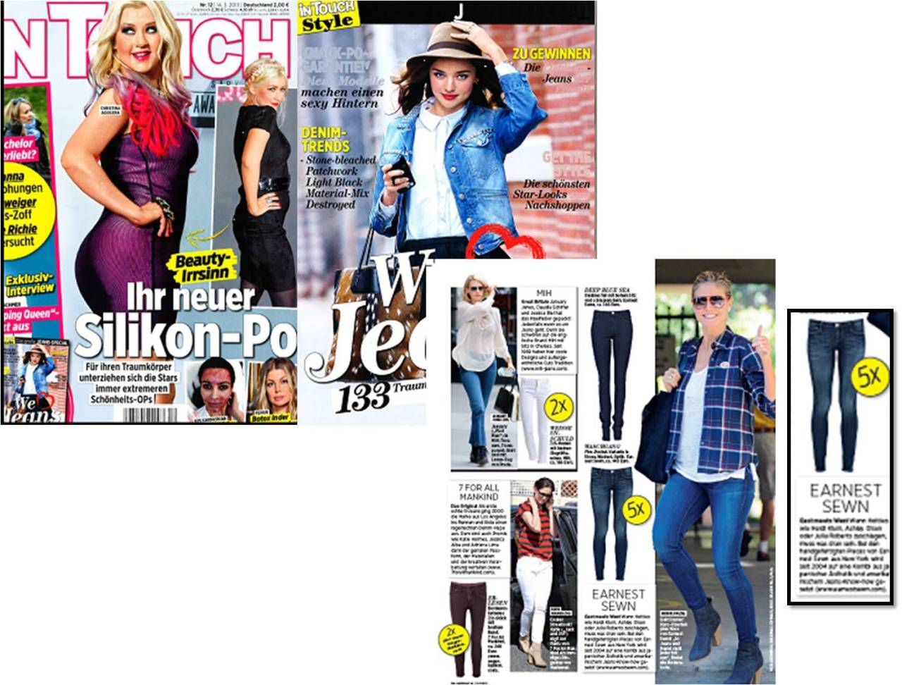 Heidi Klum shows off her Earnest Sewn jeans in InTouch Germany!