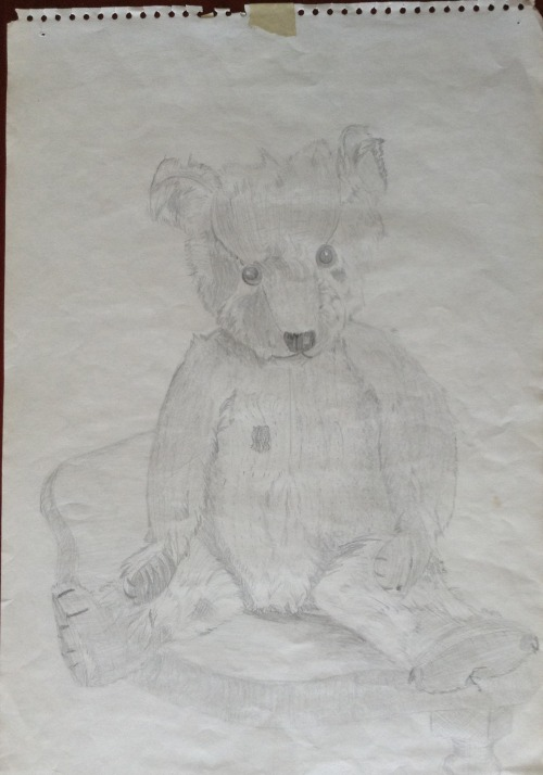 Edgar Bear (aka my old Winnie Pooh Bear).  Pencil sketch from 1985.  Inspiration for the novel.  Small comforts.