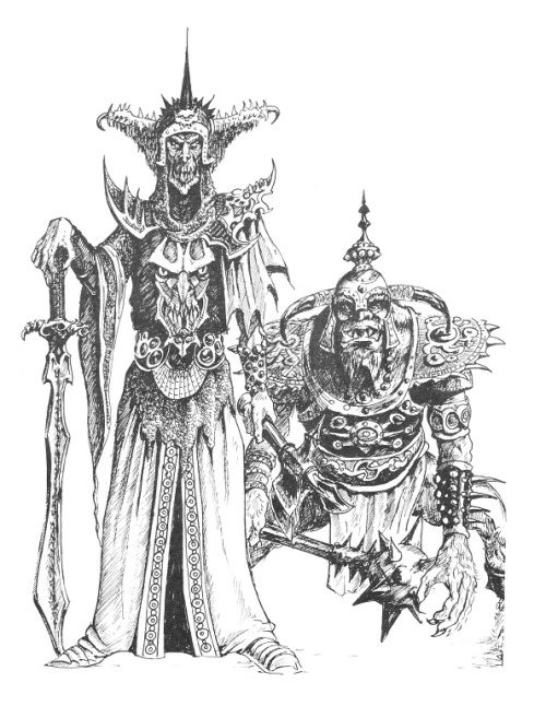 From Warhammer 1st edition supplement Forces of Fantasy. Tony Ackland, 1983.