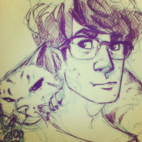 "Last of the prompts; ""Q and his cat"""