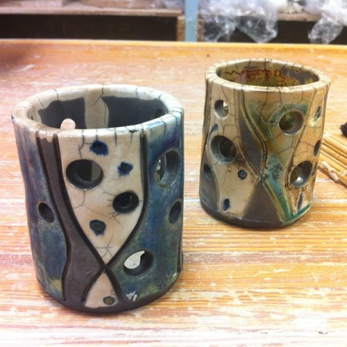 Votive holders from yesterday's raku firing! #ceramics #raku #candle