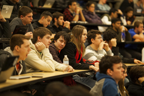 "More than 500 students descended on the Michigan Engineering campus this weekend for MHacks - a 36-hour hackathon. With over 1000 signups, 500 attendees, and 127 hacks, this hackathon truly was an ""epic experience."" The three MHacks winners were: 1st: SpeakEasy2nd: Chaos Pad3rd: SnowCode And they were totally plugged in the whole time! See their progress on Facebook, Twitter and Flickr. michiganengineering:  A 36-hour MHacks Hackathon meant making due with what you had to get what little sleep you could during the event. Some hackers brought blankets and pillows to catch a little bit of sleep. Christopher Norys, University of Wisconsin student, brings Charlotte Kissinger (also UWisconsin) to nap on. Photo: Joseph Xu, Michigan Engineering Communications & Marketing www.engin.umich.edu"