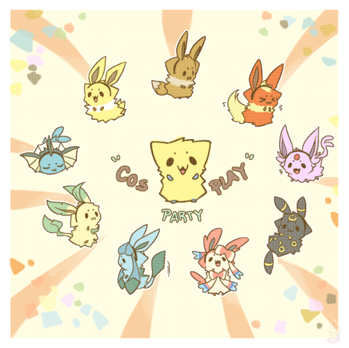 "cinamoncune:   ""how about a joltik eevee line thing….. like joltik as all the eevolutions?"" - Eritik    Tah-dah! All the fluffiesss"