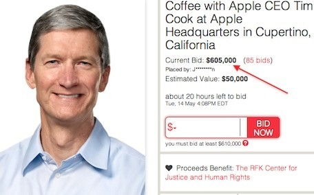 'Coffee with Tim Cook' auction ends Tuesday afternoon, current bid is $605,000 Yoni Heisler, tuaw.com A few weeks ago we reported on an online auction where the winner will have a unique opportunity to sit down for coffee with Tim Cook over at Apple's headquarters at 1 Infinite Loop.Since the auction began about three weeks ago, the bids reached…  Should I bid?