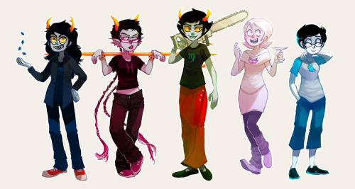 sticksandsharks:  have a handful of some of my favorite Homestuck characters I drew because schoolwork was boring me.