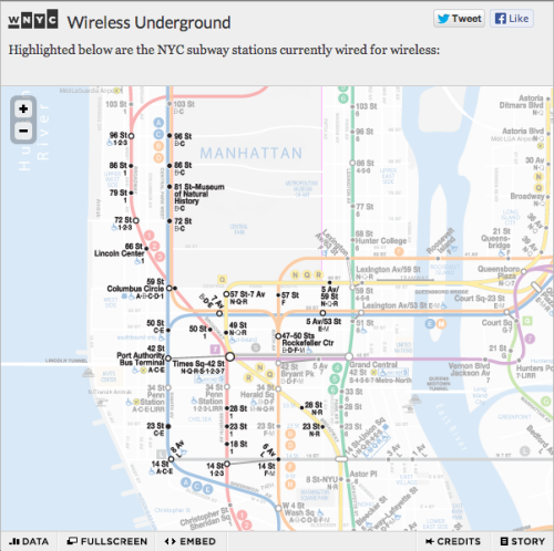 "datanews:  Today we quickly charted the announcement of subway stations equipped with wi-fi and cell service using a beautiful, faded-map design by Louise Ma and repurposing the technology Steve Melendez put together for our ""Changing Trains"" post-Sandy subway recovery map.  Click through for today's story and zoomable map.  Ah, that explains my coverage at 23rd street station. Awesomeness!"
