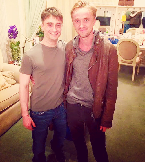 """tomfelton:  Tom attended to """"The Cripple of Inishmaan"""" show, where Daniel Radcliffe is the starring actor."""