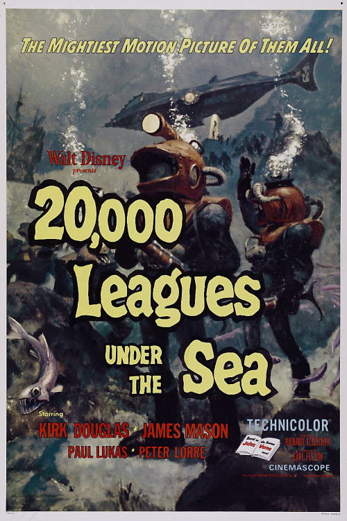 #501/#52 20,000 Leagues Under the Sea In 1868, a mysterious sea monster has been apparently sinking ships all across the Pacific Ocean. Attempting to study the creature, French Professor Pierre Aronnax (Paul Lukas) and his assistant Conseil (Peter Lorre) join an American naval vessel charged with looking into the matter.  When the creature attacks however, they are amazed to find it is actually a technologically advanced submarine helmed by the strong-willed Captain Nemo (James Mason). Along with the naval ships only remaining crewman, Ned Land (Kirk Douglas), the pair are invited aboard to marvel at life beneath the waves but it quickly becomes apparent they are more prisoner than guest. Having never read the book I can't comment on how well they keep to the story, but Disney's live action version is a fairly enjoyable watch. It's quite slow in a number of places, which does really drag down the whole feel of the film, but the locations and set pieces are grandiose and impressive. The look of Nemo's ship, the Nautilus, and the battle with the giant squid during a thunderstorm are truly iconic and particularly well done. The underwater elements, while really dragged out, must also have been notable to a 1950's audience. From the cast, Lukas was probably the least interesting, having to work as the audience surrogate, but he does well enough as the go between for Nemo and his fellow captives. Lorre gives a good comedic performance as the loyal but put upon assistant and works particularly well when interacting with Douglas' character Ned. Douglas himself however, is what keeps the longer boring sections from becoming unbearable. He just brings a lust for life to the character and it's hard not to smile along with him as he gets from one antic to the next. Nemo is also enjoyable but in a totally different way. He has some depth to him, which is revealed as the story progresses and Mason portrays perfectly, but he's at his best when he's acting like a James Bond villain. He genuinely doesn't give a damn about anyone on land and it really comes across when he's interacting with Ned. They hate each other and it's fun to see them spar. Mason allows you to see glimpses of the good man that was once beneath the veneer but now he has clearly gone off the deep end. There are certainly a great deal of other live action Disney movies which are a lot lower than this early contribution to the genre but at the same time I don't think I'd be rushing to rewatch it any time soon. Pleasant, with a good cast, but nothing special nowadays. 3/5