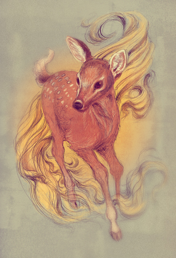 aky-aky:  Fawn I might be doing a colour commission soon so just practising after doing so much black and white work. Here's a sketchy anatomically incorrect fawn.