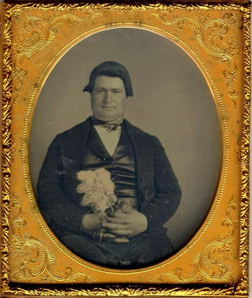 ca. 1850's, [daguerreotype portrait of a gentleman with flowers] via Jeffery Kraus Antique Photographics, Daguerreotype Collection