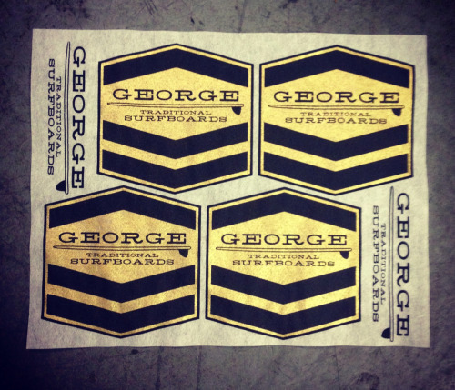 We printed some surfboard lams for our pal George. Metallic gold and black on rice paper.