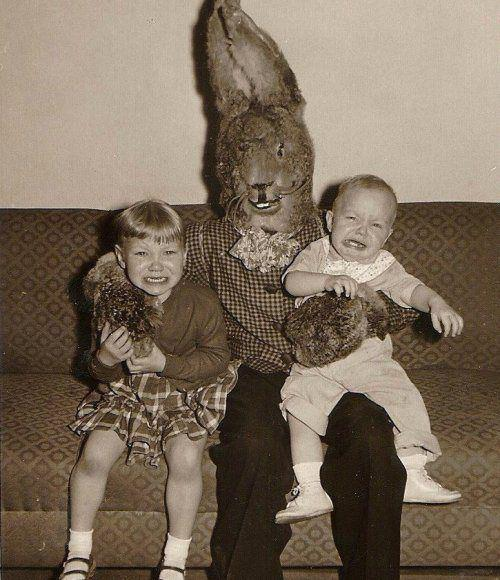The Easter Bunny was less terrifying before the ravages of time and coyotes got to his face.