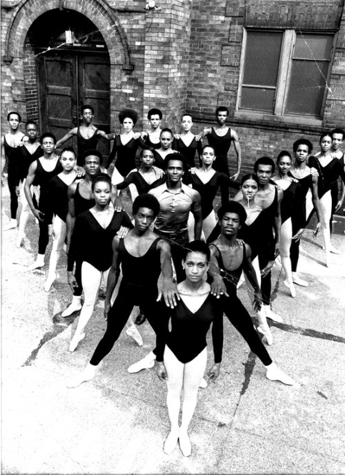 throughkaleidscopeeyes:  Dance Theatre of Harlem Company. (Co-Founder Arthur Mitchell in the center) yes! i miss ballet!