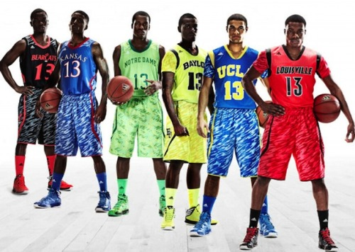 "cbssports:  In the dictionary, these uniforms would be pictured next to ""hideous.""  It has been decided. The loser of our office NCAA bracket pool has to wear that Notre Dame uniform for an entire day."