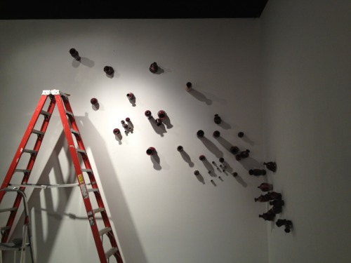 Last night I worked on the installation, hammering my finger three times in the same spot, fabric problem, nails flying problems, and the next day car smoking problem.. So far so good.  Rewarding self with chocolate and vanilla java shake? Fuck yeah..