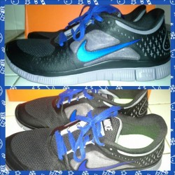 My new and first Nike shoes :) #Nike #Nikefreeruns3 5.0 #Black #Gray #Blue #mychristmaspresent #yay