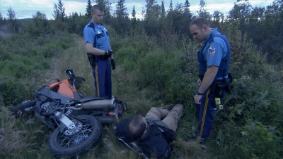 "From the reality series Alaska State Troopers- A man runs from the police because he doesn't have a motorcycle license. When they ask him what he was doing, ""Some questions are better left for another time."" HAHAHA."