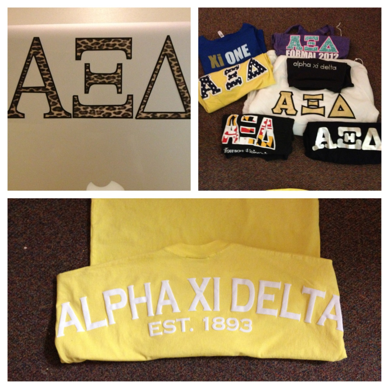 Towson University Alpha Xi Delta Theta Delta Chapter's new stickers, spirit jerseys, and senior pass-downs! submitted by: l0ve-and-memories